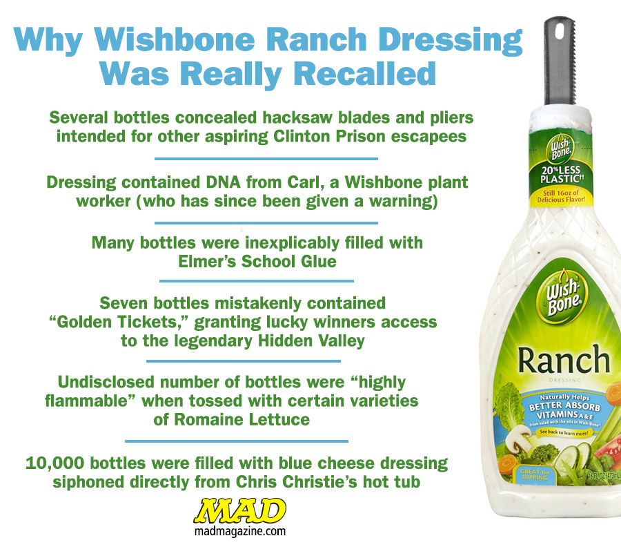 MAD Magazine   Why Wishbone Ranch Dressing Was Really Recalled Idiotical Originals, Ranch Dressing, Wishbone, Recall, Boomy Zoomy Zoom
