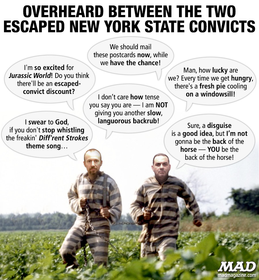 MAD Magazine Overheard Between the Two Escaped New York State Convicts Idiotical Originals, Prisoners, Escape, New York State, Richard Matt, David Sweat, Ratso Rizzo Workout Routine