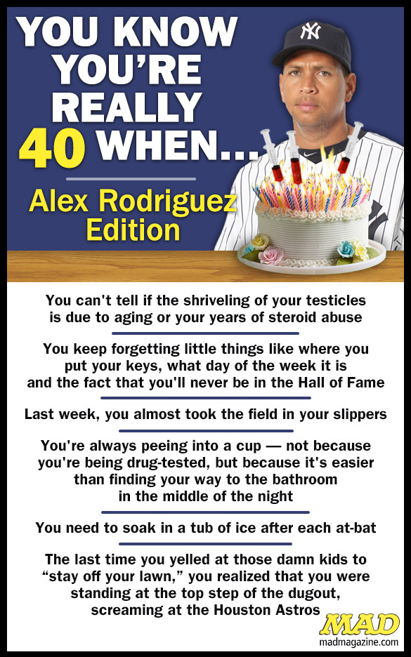 MAD Magazine You Know You're Really 40 When…(Alex Rodriguez Edition) Idiotical Originals, You Know You're Really, Movies, Birthday, Baseball, Alex Rodriguez, Sports, New York Yankees, ODB Hallmark Channel Miniseries