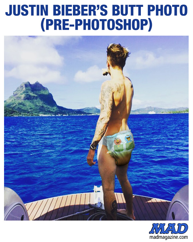 MAD Magazine Justin Bieber's Butt Photo (Pre-Photoshop) Idiotical Originals, Pre-Photoshop, Music, Justin Bieber, Diaper, Butt, Instagram, Melissa McCarthyism