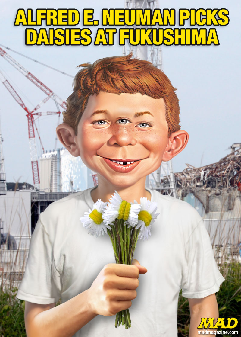 MAD Magazine Alfred E. Neuman Picks Daisies at Fukushima Idiotical Originals, Fukushima, Daisies, Alfred E. Neuman, Japan, Barbara Bushwhackers Figurines