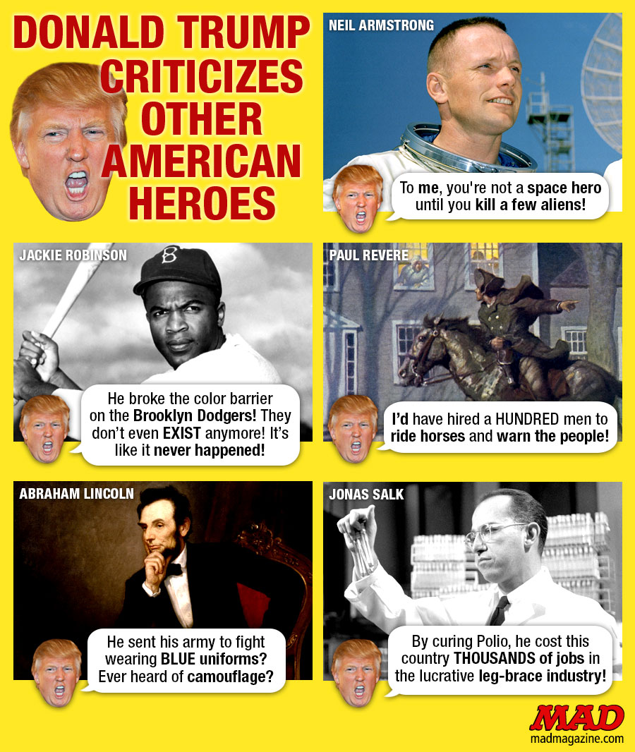 MAD Magazine Donald Trump Criticizes Other American Heroes Idiotical Originals, Society & Culture, Politics, Election, President, Donald Trump, John McCain, Arizona, POW, Soldier, War, Hero, Military, Controversy, Medicine for Medicine Ball Injuries