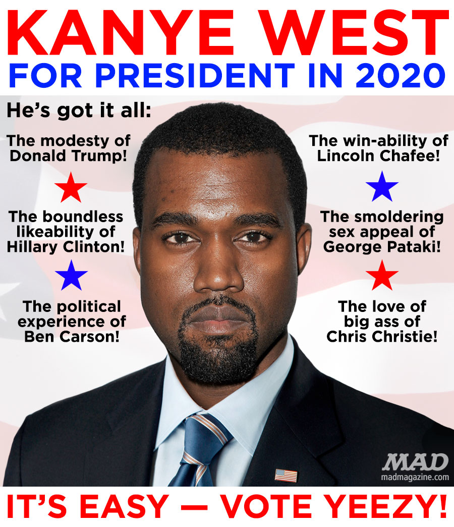 a mad political poster kanye west for president mad magazine