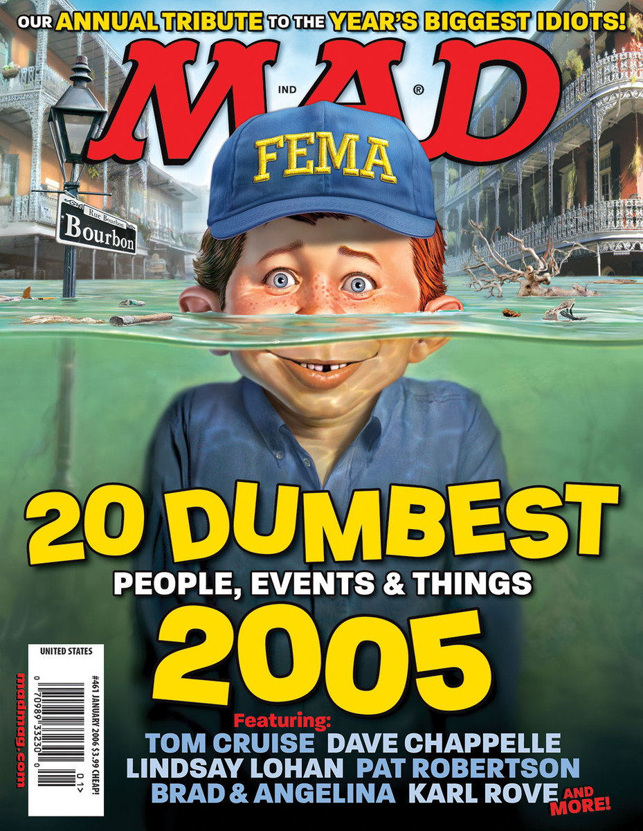 MAD Magazine  MAD Marks 10th Anniversary of Hurricane Katrina Classic MAD, MAD Covers, Hurricane Katrina, MAD 20, Mark Fredrickson, FEMA