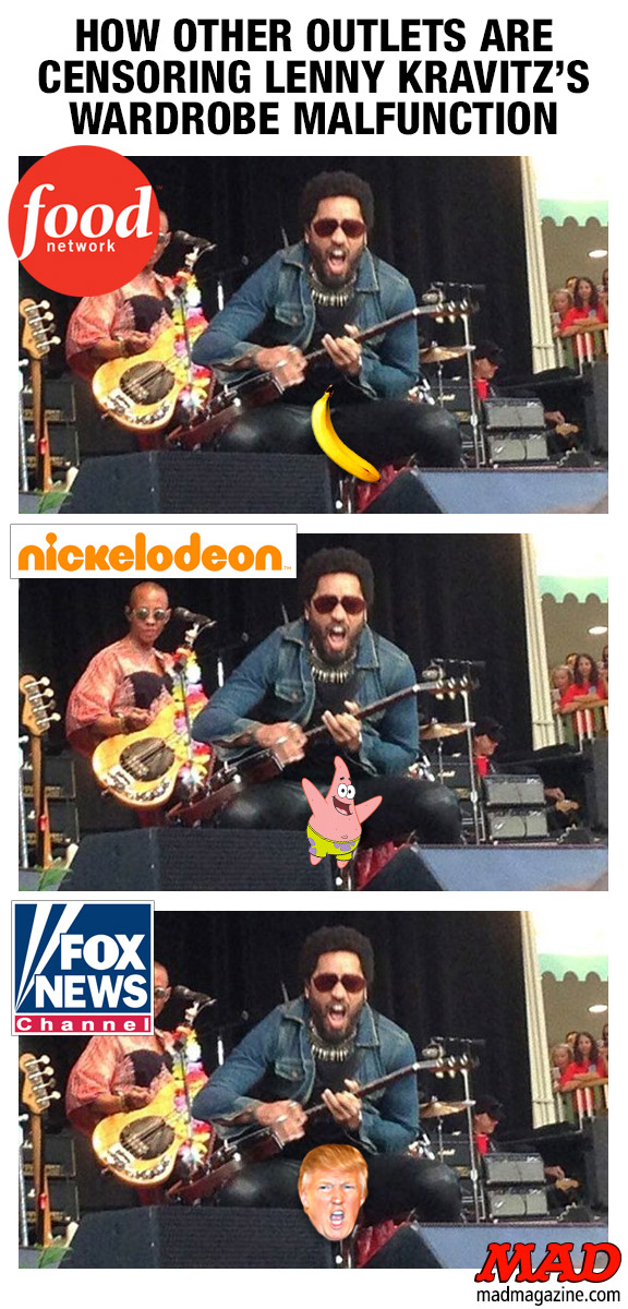MAD Magazine How Other Outlets are Censoring Lenny Kravitz's Wardrobe Malfunction Idiotical Originals, Society & Culture, Music, Rock, Concert, Lenny Kravitz, Wardrobe Malfunction, Nudity, Penis, Pants, Split, Tear, Gramophone Troubleshooting