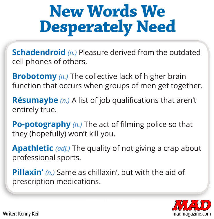 MAD Magazine New Words We Desperately Need The Fundalini Pages, MAD #535, Kenny Keil, Oxford Dictionary of English, New Words