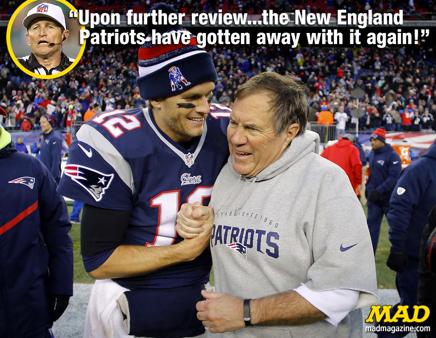 MAD Magazine Tom Brady's Four-Game Suspension Repealed Idiotical Originals, Tom Brady, Bill Belichick, NFL, Sports, Football, Deflategate