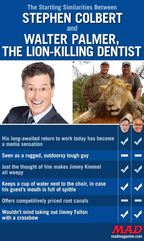 MAD Magazine The Startling Similarities Between Stephen Colbert and Walter Palmer, the Lion-Killing Dentist Idiotical Originals, Similarities and Differences, Stephen Colbert, Late Show, CBS, Walter Palmer, Cecil the Lion