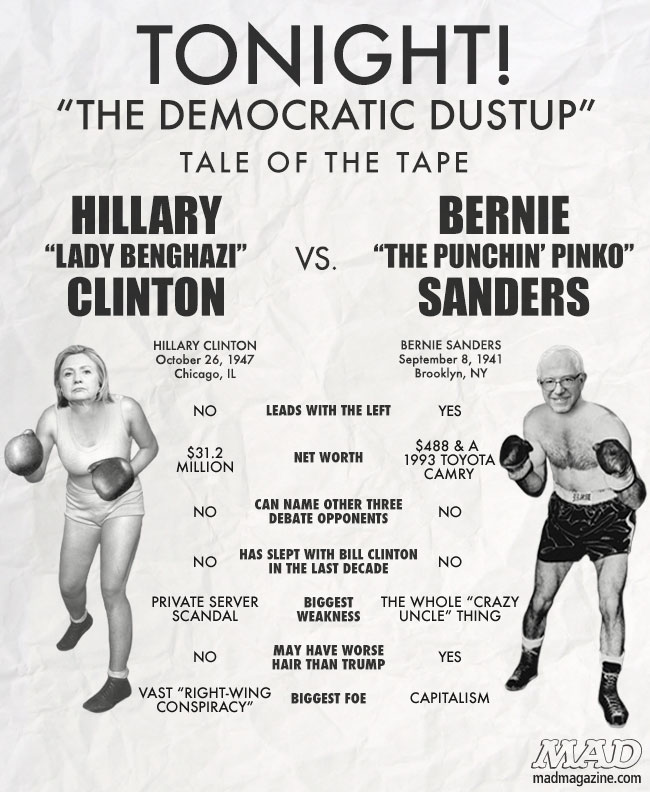 MAD Magazine Tale of the Tape: Hillary Clinton vs. Bernie Sanders  Idiotical Originals, Tale of the Tape, Hillary Clinton, Bernie Sanders, Debate, Presidential Campaign