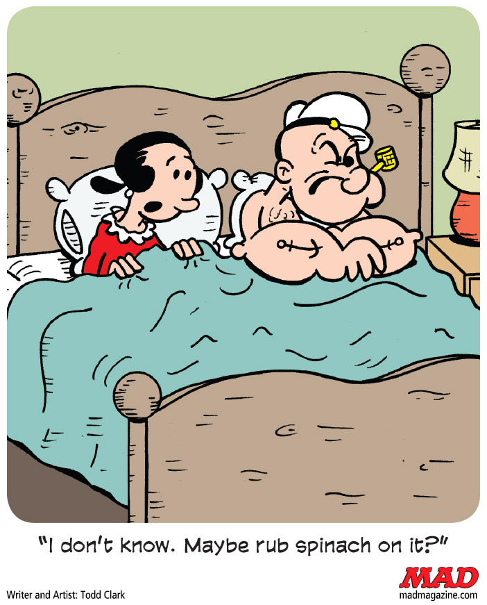 MAD Magazine One Night in Popeye's Bedroom: A Cartoon by Todd Clark The Fundalini Pages, Single Panel Cartoon, Todd Clark, MAD #526, Popeye, Olive Oyl