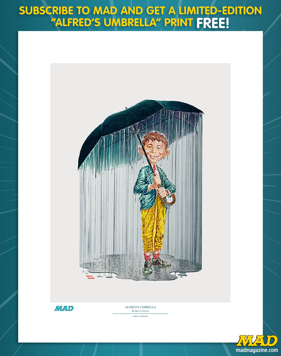 "MAD Magazine  Subscribe to MAD and Get an ""Alfred's Umbrella"" Print FREE!  Subscriptions, Alfred E. Neuman, Kelly Freas, Collectible Prints, Limited Edition Prints"