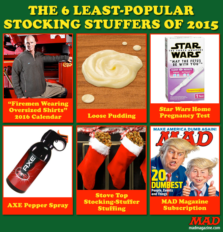 MAD Magazine The 6 Least-Popular Stocking Stuffers of 2015 Idiotical Originals, Stockings, Christmas, Holidays