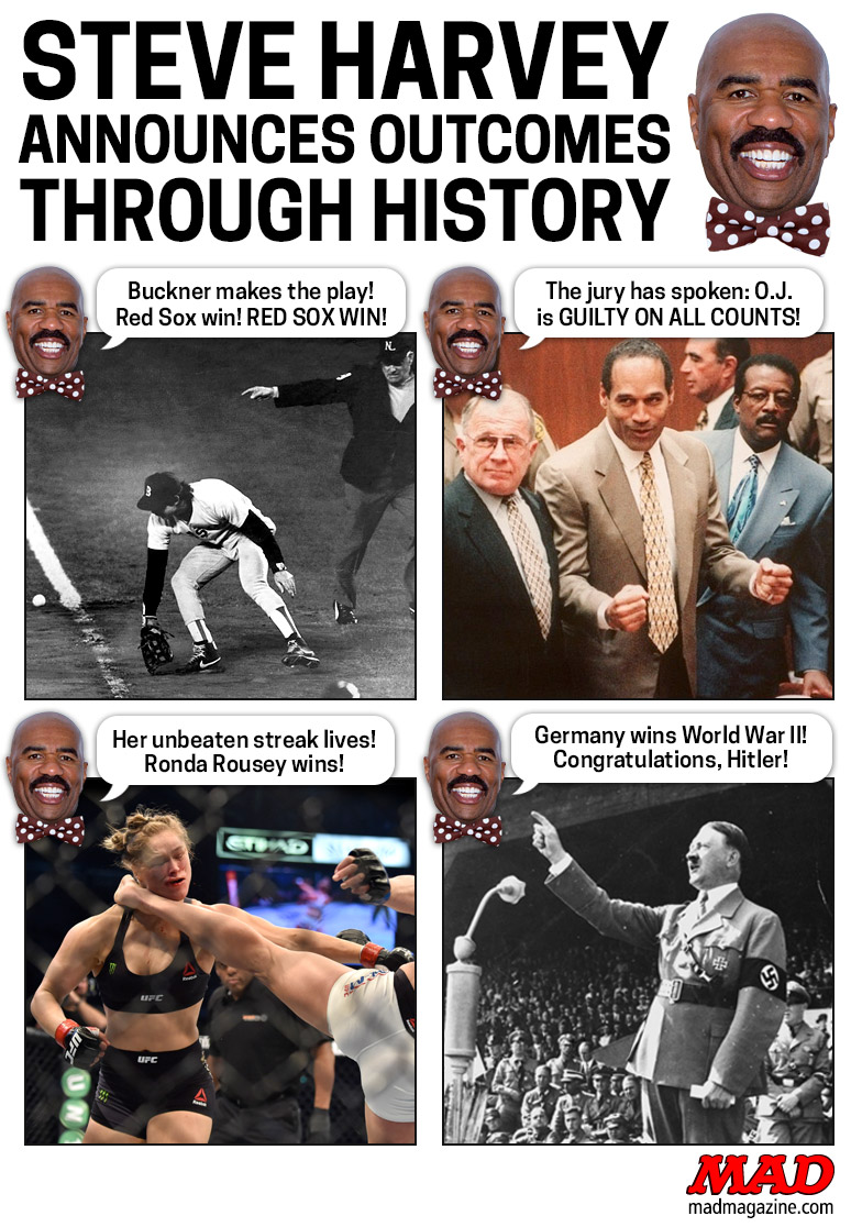 MAD Magazine Steve Harvey Announces Outcomes Through History   Idiotical Originals, Steve Harvey, Miss Universe