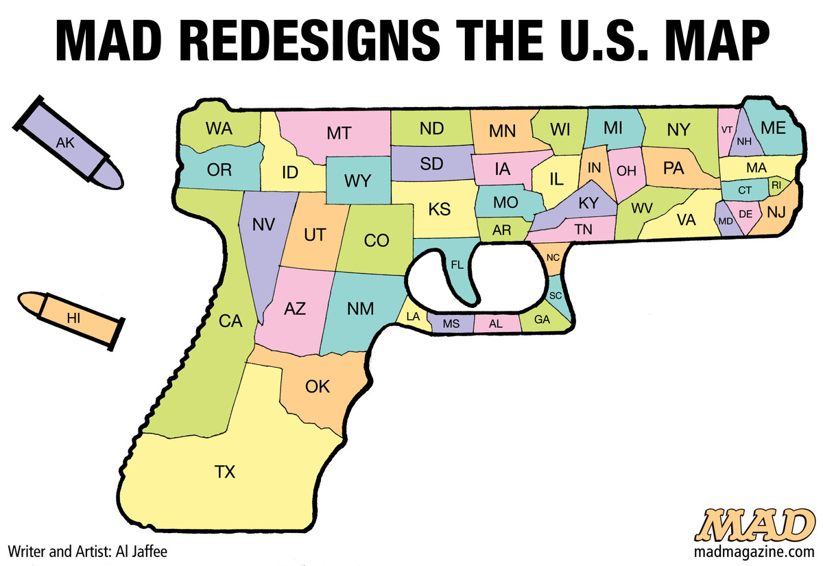 MAD Magazine MAD Redesigns the U.S. Map Idiotical Originals, Al Jaffee, Gun Control, President Obama, National Rifle Association, NRA, Gun Restrictions, Second Amendment, Executive Order, Map, United States, San Bernardino, Presidential Campaign