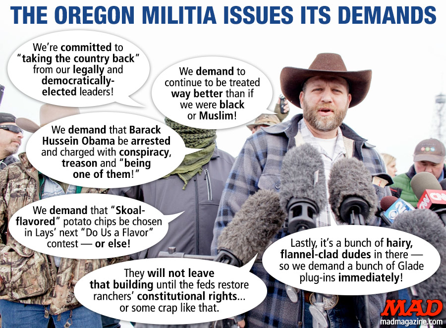 MAD Magazine The Oregon Militia Issues its Demands Idiotical Originals, Oregon, Militia, Emmon Bundy