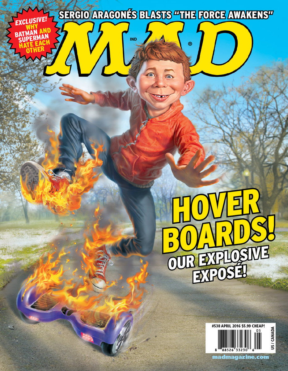 MAD Magazine, MAD Covers, Alfred E. Neuman, Hoverboard, Mark Fredrickson