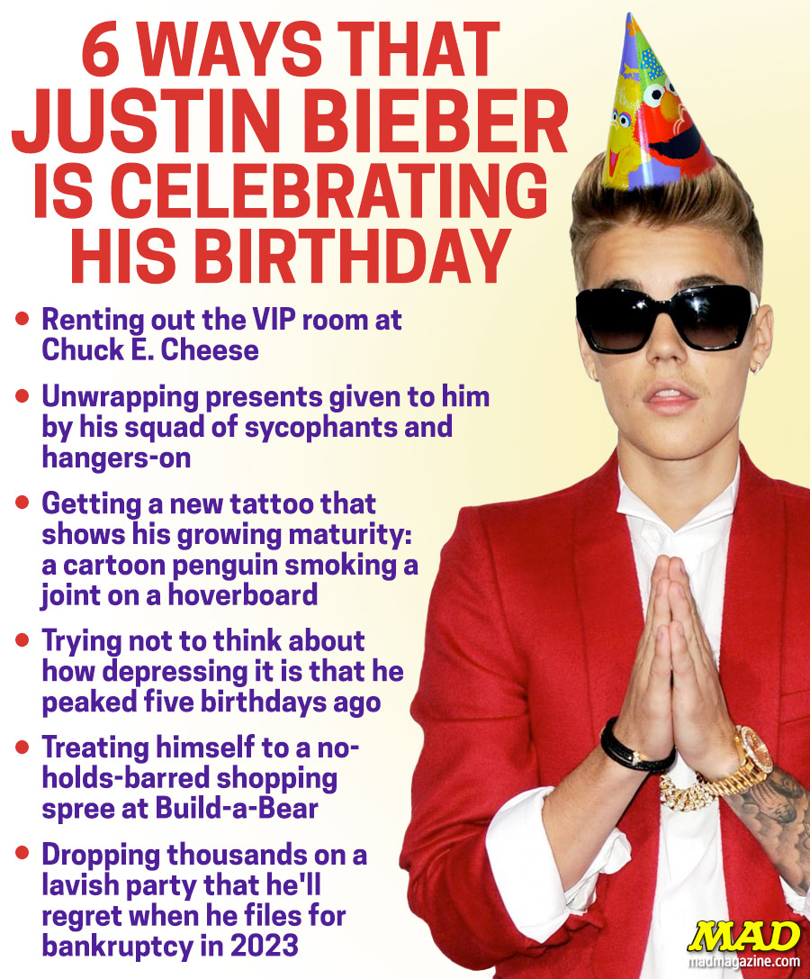 MAD Magazine, Idiotical Originals, Justin Bieber, Music, Birthday
