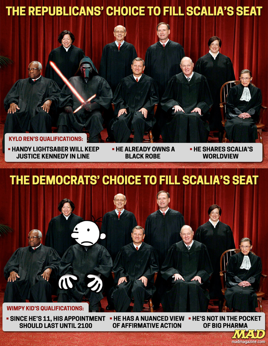 MAD Magazine, Idiotical Originals, Supreme Court, Antonin Scalia, Politics, Kylo Ren, Wimpy Kid