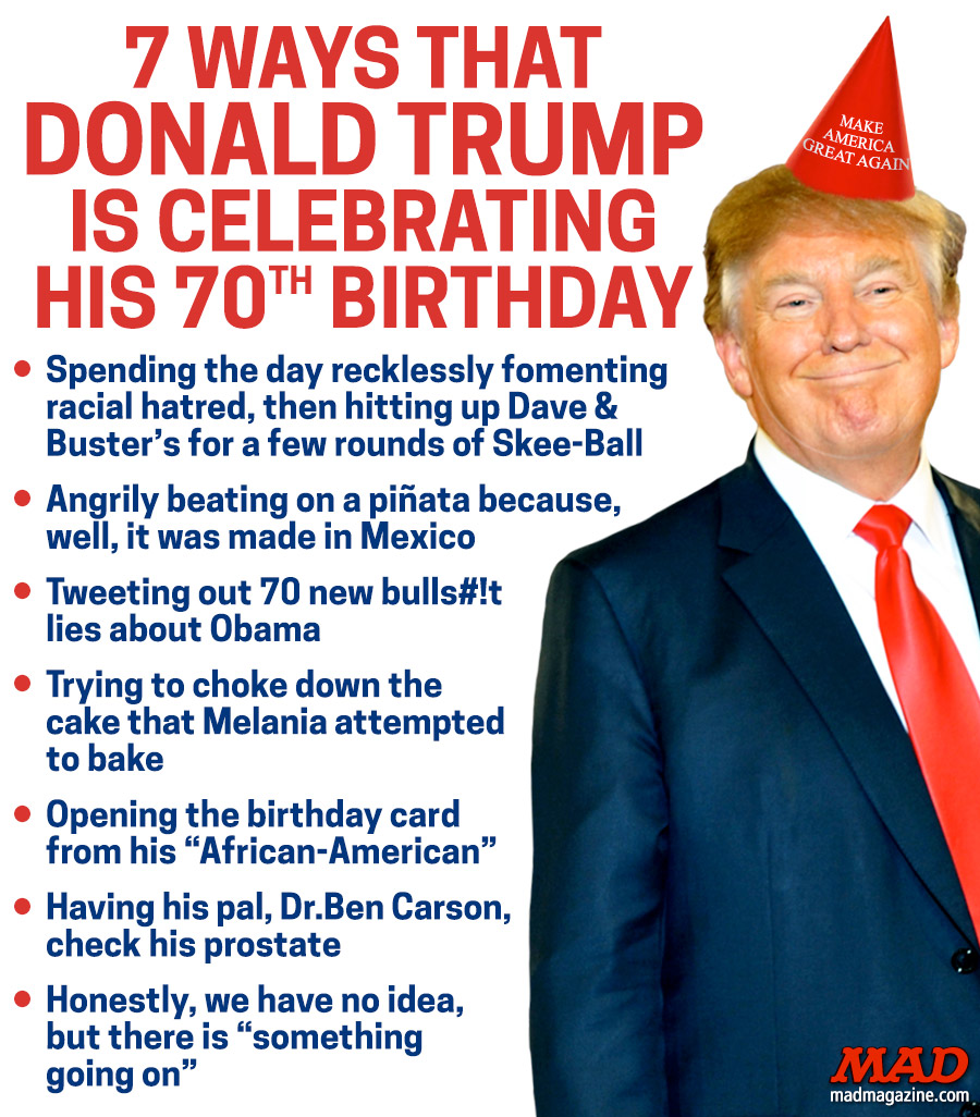 7 Ways Donald Trump Celebrating 70th Birthday Mad