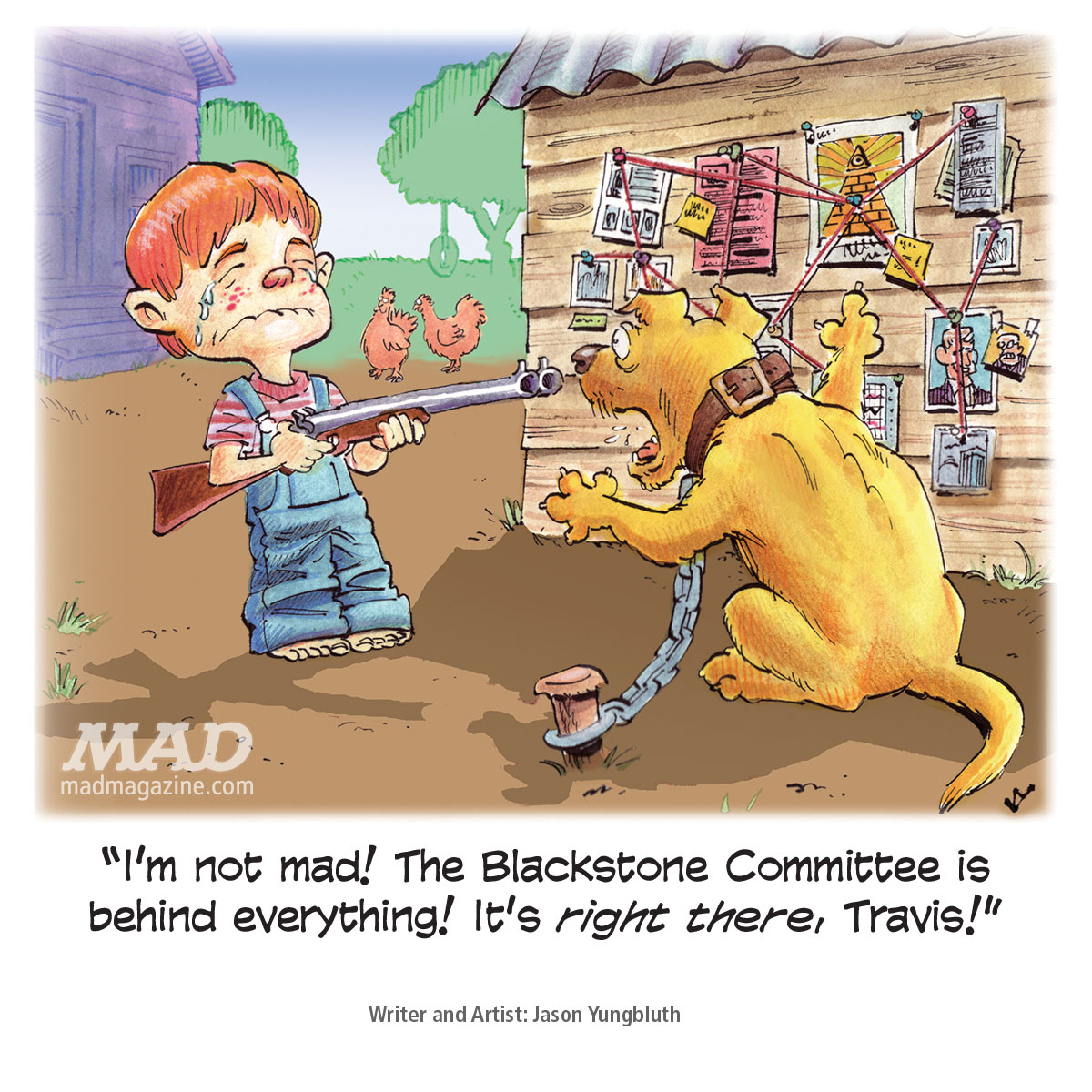 Mad magazine jason yungbluth blackstone committee conspiracy single panel cartoon fundalini pages