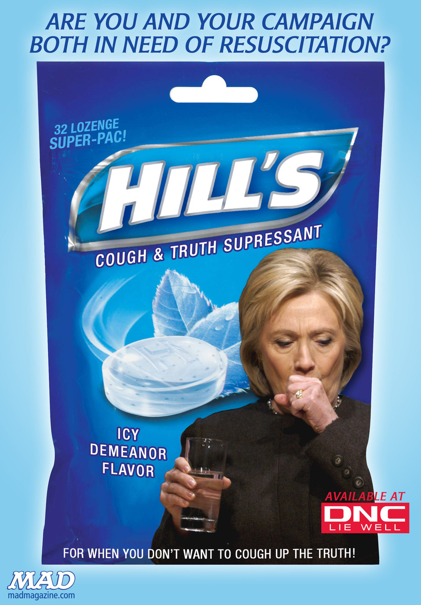 mad magazine hillary clinton's new cough remedy hills halls pneumonia cough and truth suppresant