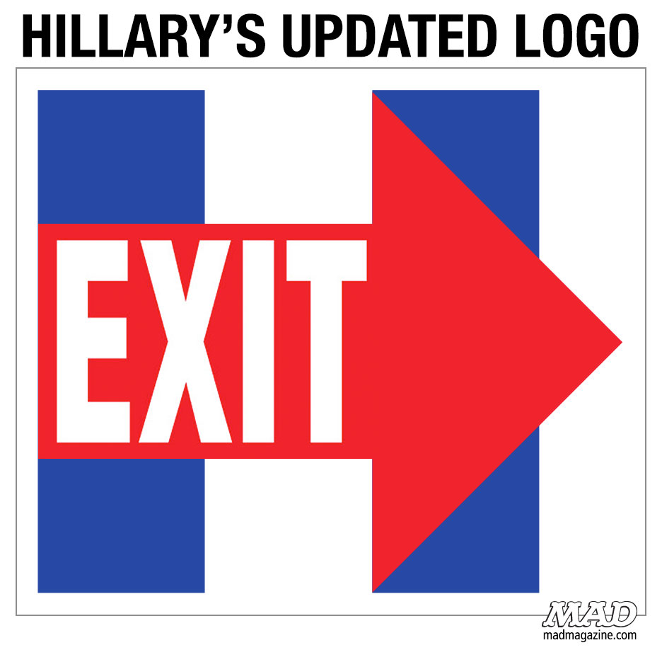 mad magazine hillary clinton logo exit sign presidential election