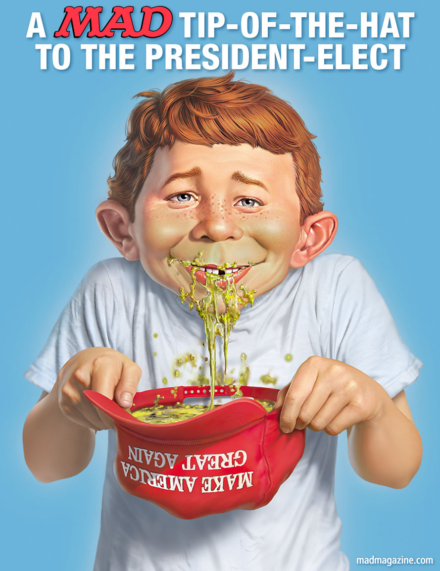 mad magazine alfred e neuman donald trump make america great again president elect election day vomit puke mark fredrickson