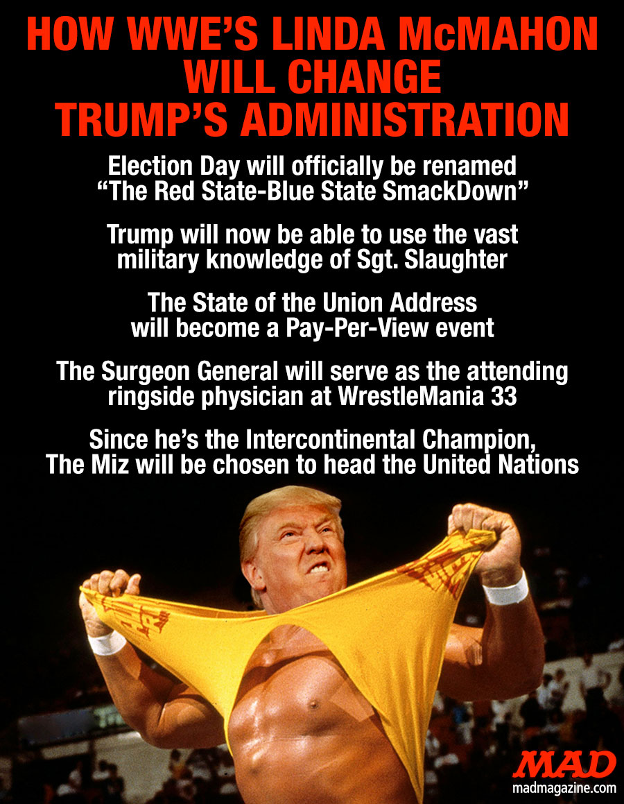 MAD Magazine, Idiotical Originals, Donald Trump, Linda McMahon, WWE, Hulk Hogan