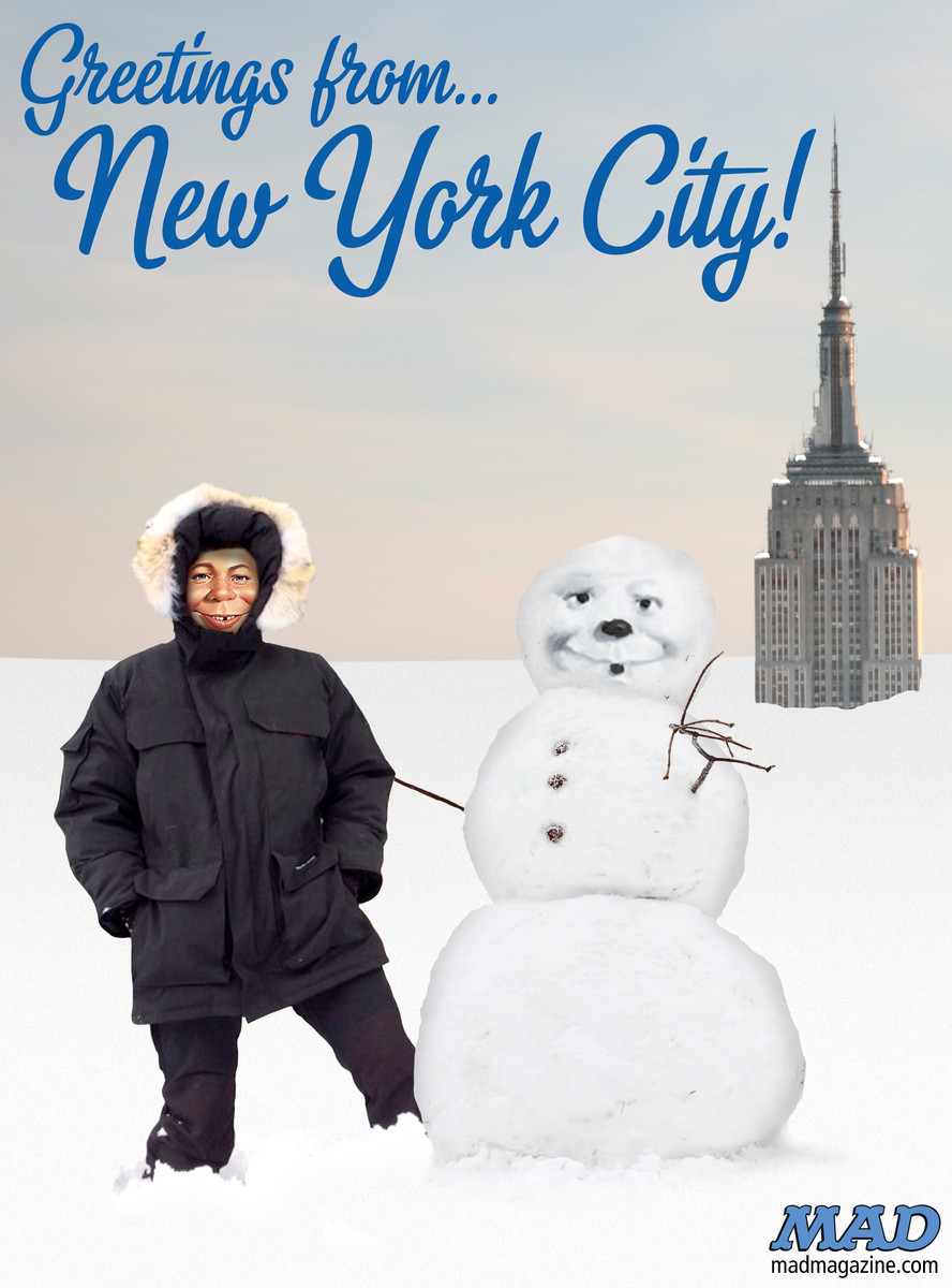 MAD Magazine, Idiotical Originals, Weather, Snow, Blizzard, Alfred E. Neuman, Empire State Building