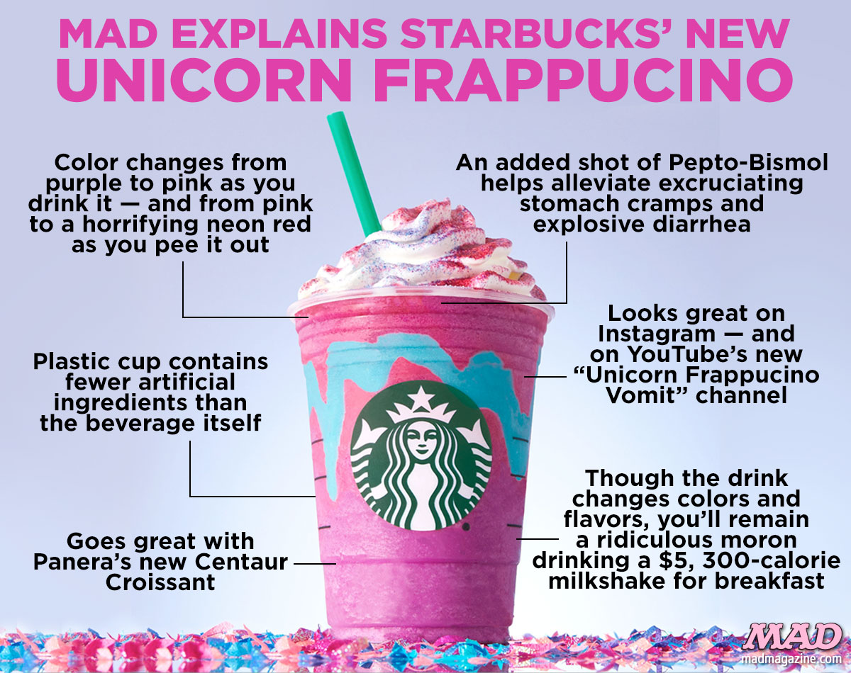 MAD Magazine, Idiotical Originals, Starbucks, Unicorn Frappucino
