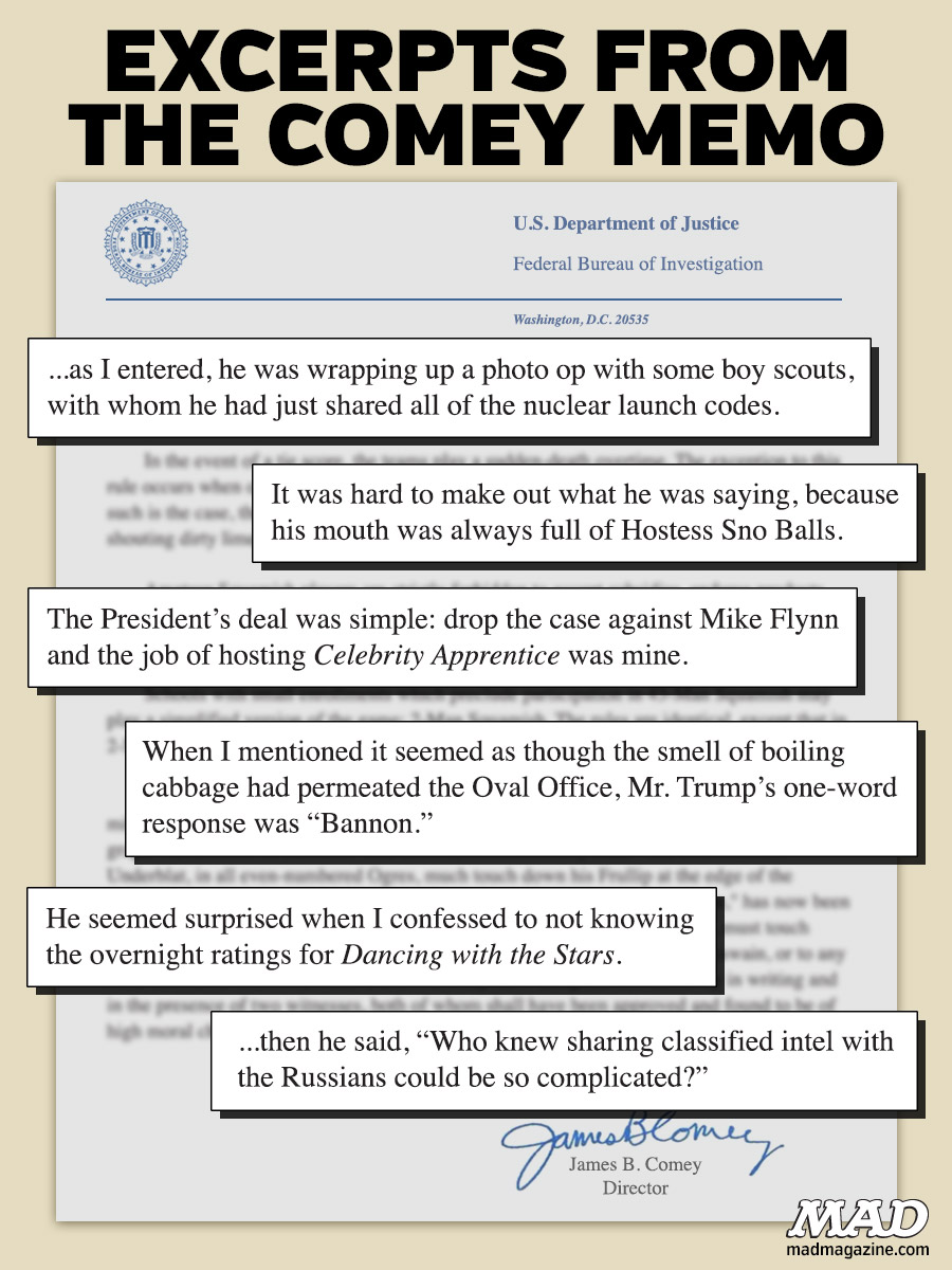 mad magazine excerpts from the comey memo james comey donald trump fbi trumpgate russiagate