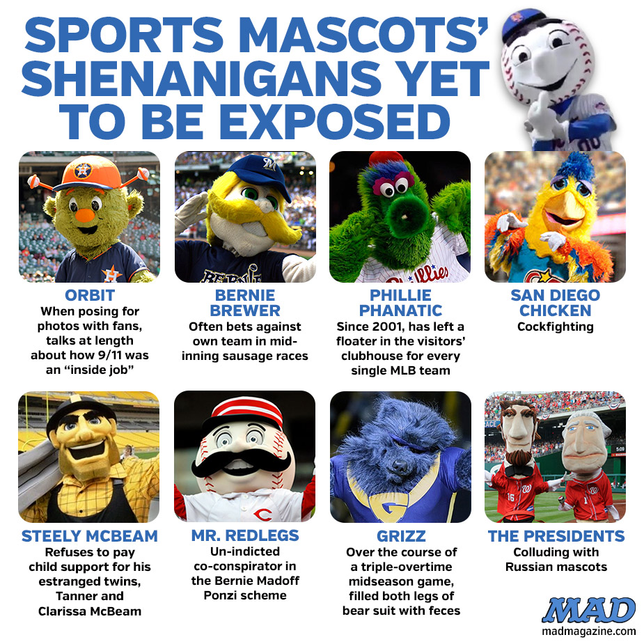 mad magazine the idiotical sports mr met middle finger new  york mets baseball SPORTS MASCOTS' SHENANIGANS YET TO BE EXPOSED