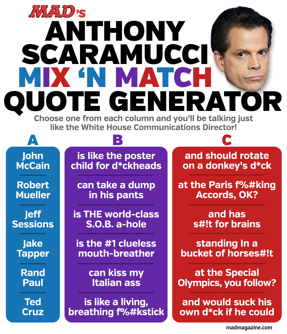 Magazine Quotes Mad's Anthony Scaramucci Mix 'n Match Quote Generator  Mad Magazine