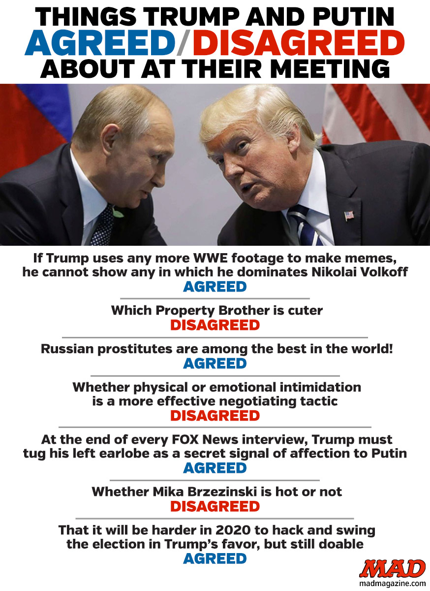 mad magazine THINGS TRUMP AND PUTIN AGREED AND DISAGREED ABOUT AT THEIR MEETING g20 summit donald vladimir