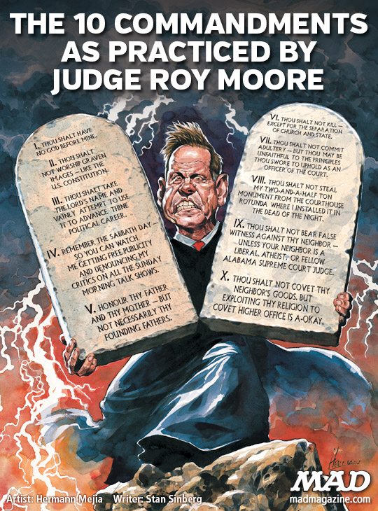 MAD magazine, Judge Roy Moore, Ten Commandments, Alabama Senate