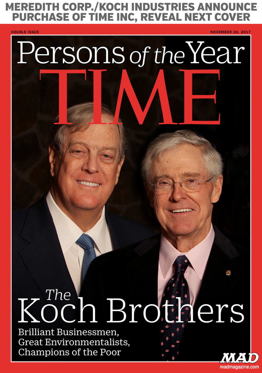 Meredith corp./koch industries Announce Purchase of Time Inc, Reveal Next Cover mad magazine time magazine