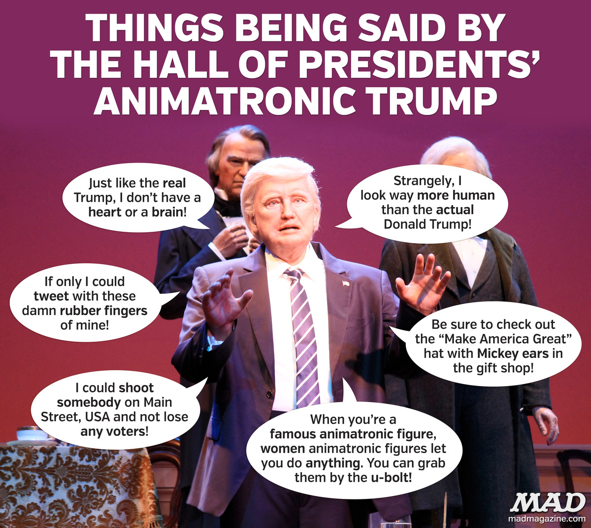 MAD Magazine, Idiotical Originals, Donald Trump, Disney World, Hall of Presidents