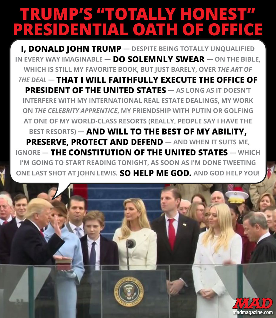 mad magazine donald trump president oath of office inauguration day january 20th
