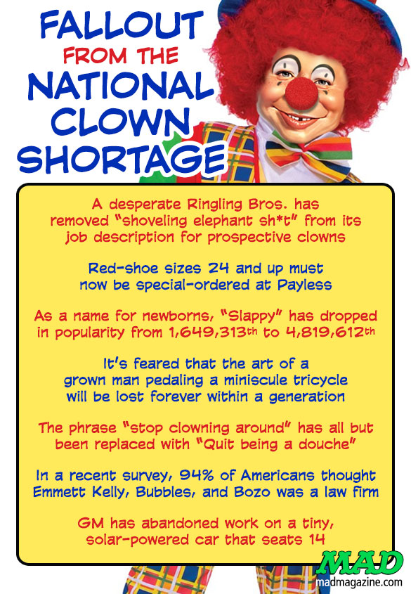 MAD MAGAZINE THE IDIOTICAL Fallout from the National Clown Shortage Idiotical Originals, Clowns, Circus, Payless Shoes, Ringling Bros., Sword-Swallowing Wombats