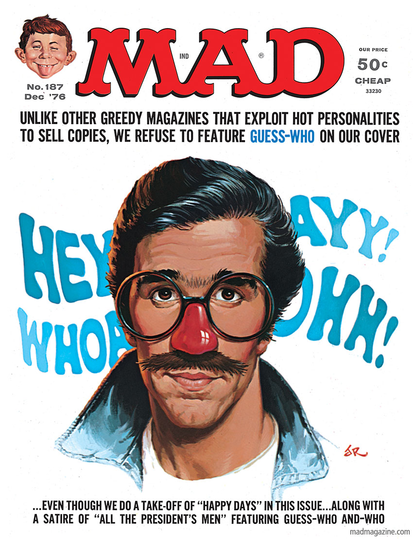 "mad magazine the idiotical Happy 40th Anniversary, ""Happy Days"" Classic MAD, MAD Covers, Television, Happy Days, Henry Winkler, The Fonz, Arthur Fonzarelli, Ayyyyyyy, Jack Rickard, MAD #187"