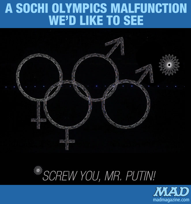 mad magazine the idiotical An Sochi Olympics Malfunction We'd Like to See Idiotical Originals, Sports, Winter Olympics, Sochi Olympics, Olympics Malfunction, Olympic Rings, Russia, Vladimir Putin, Gay Rights, Sochi, Ham! Ham! Ham!